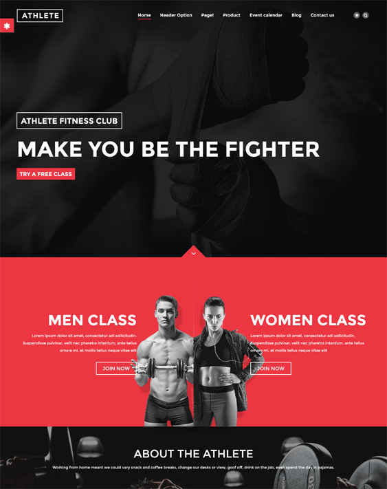 athlete gym fitness drupal themes