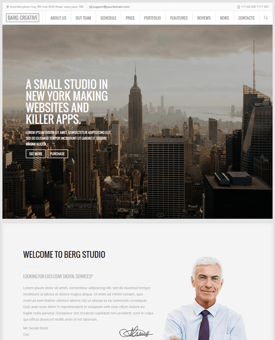berg one page drupal themes