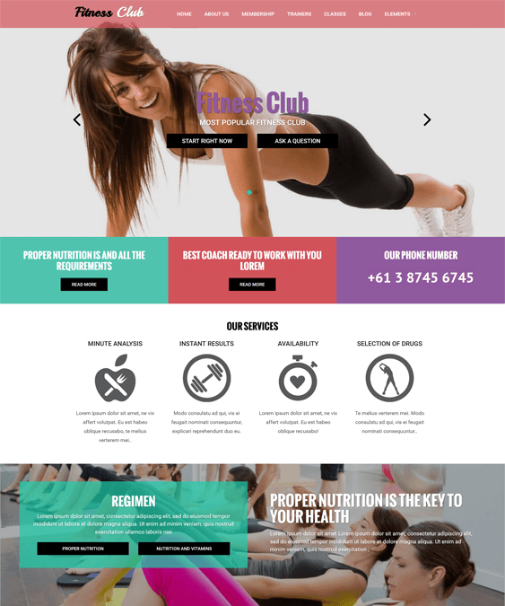 fitness club gym fitness drupal themes