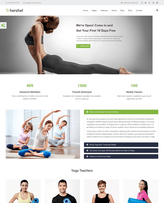 hershel gym fitness drupal themes
