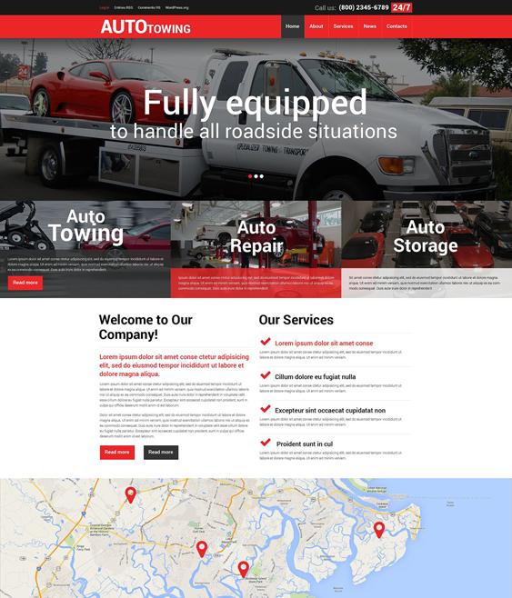 towing car mechanic repair shop wordpress themes