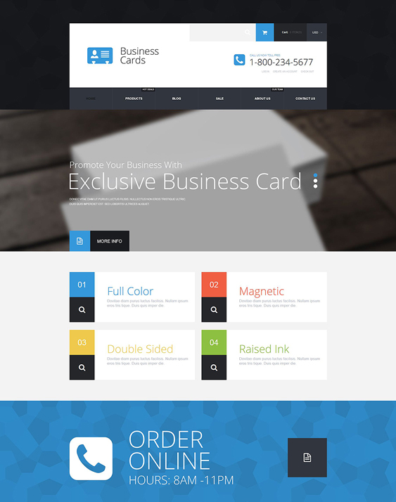business cards stationery shopify themes