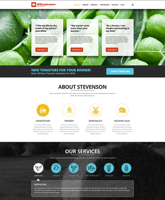 farming one page joomla templates