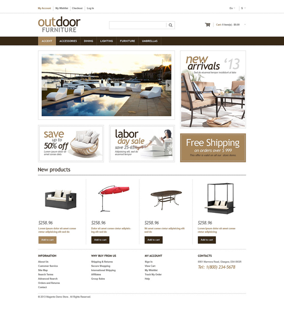 furniture magento themes 1