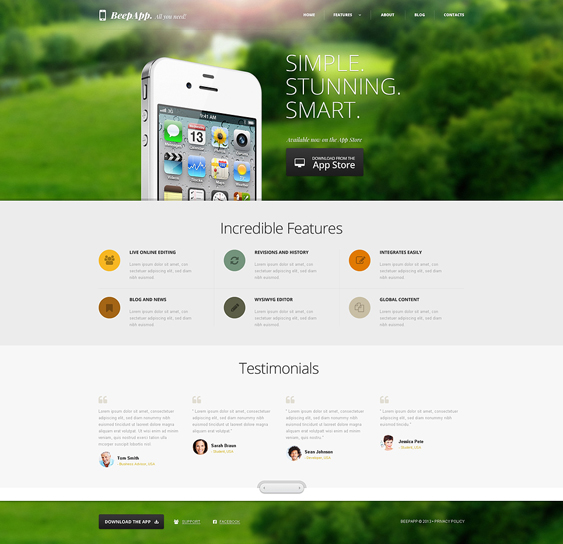 iphone wordpress themes promoting apps