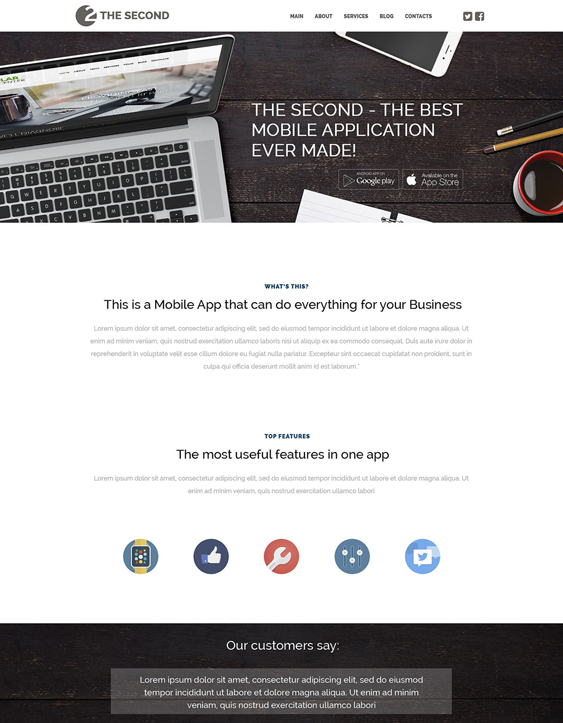 mobile applications wordpress themes promoting apps
