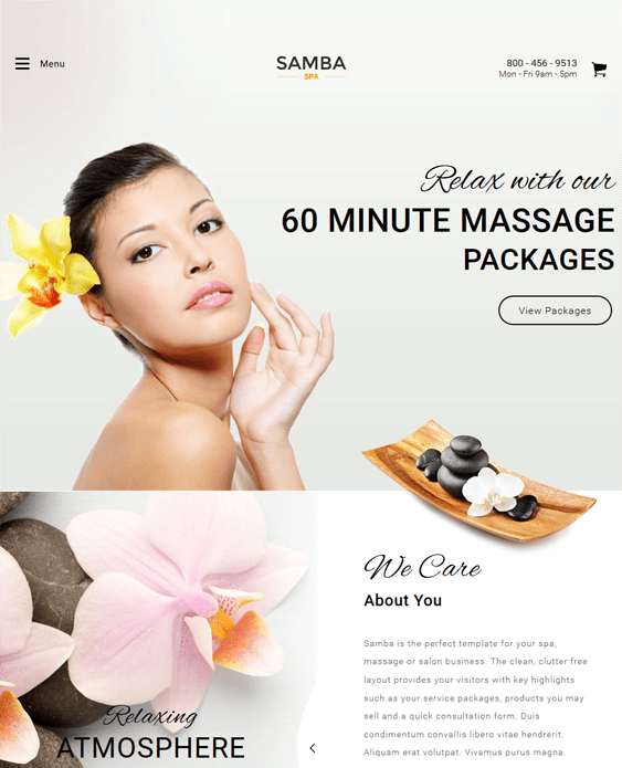 samba beauty salon spa joomla templates