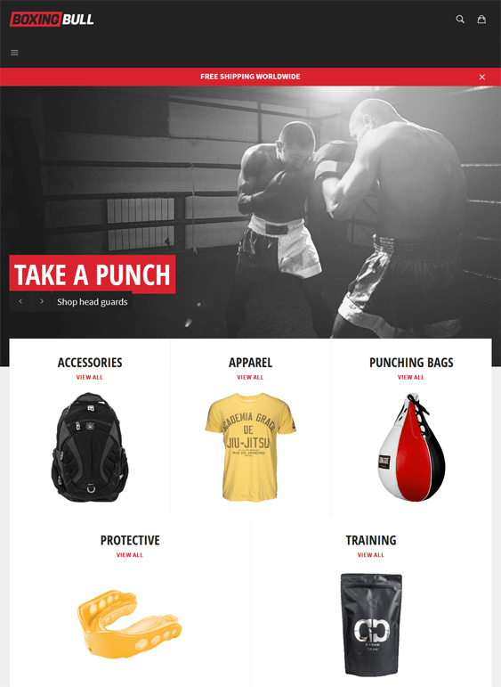 venture boxing free responsive shopify themes