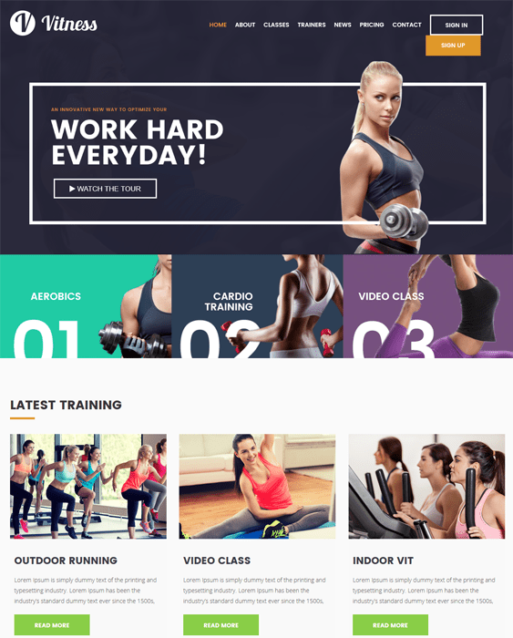 vitness gym fitness wordpress themes