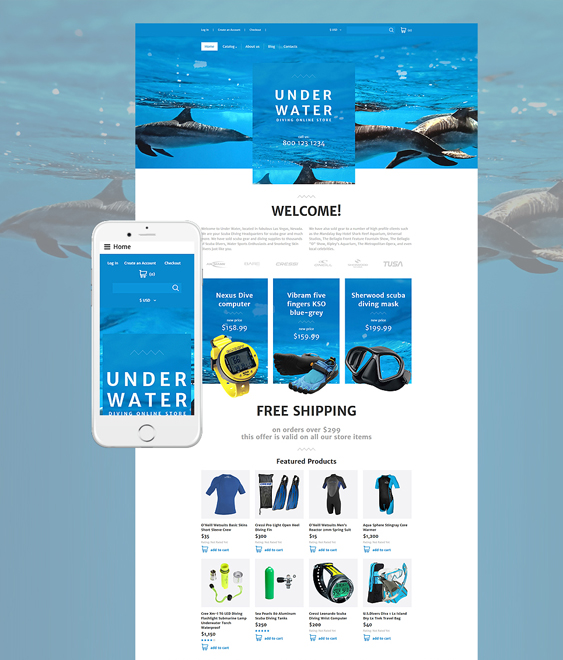 diving responsive virtuemart themes
