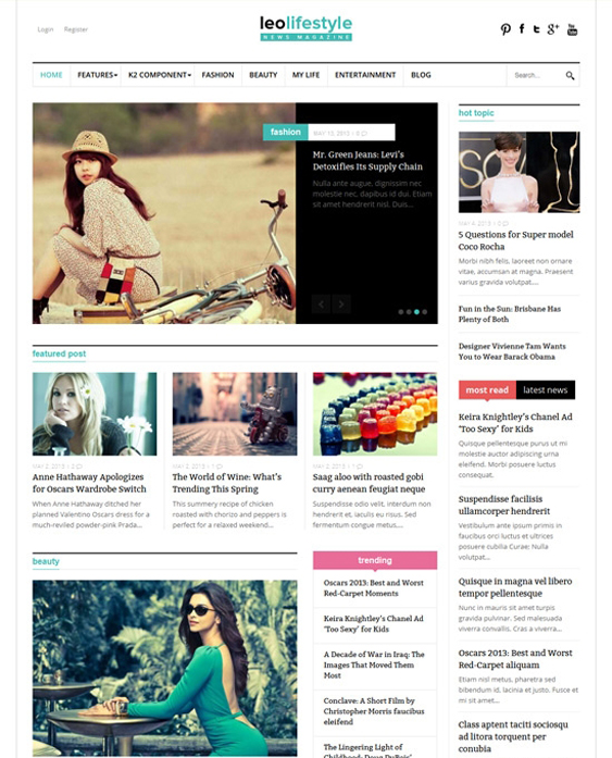 leo lifestyle news magazine joomla templates
