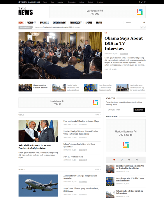 truenews news magazine wordpress themes
