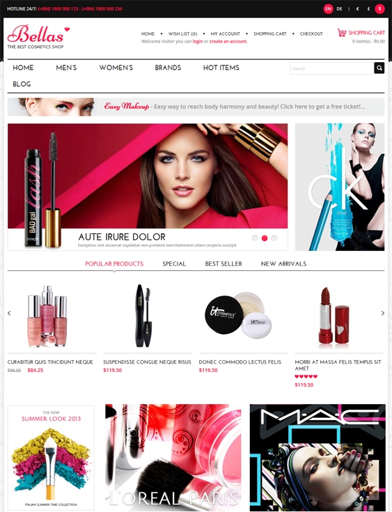 bella beauty products cosmetics hair care perfumes opencart themes