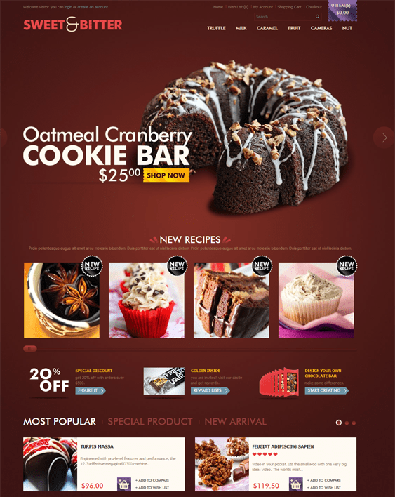 chocolate food drink restaurant opencart themes