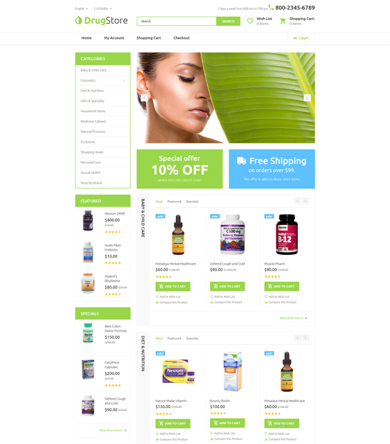 drugster medical health opencart themes