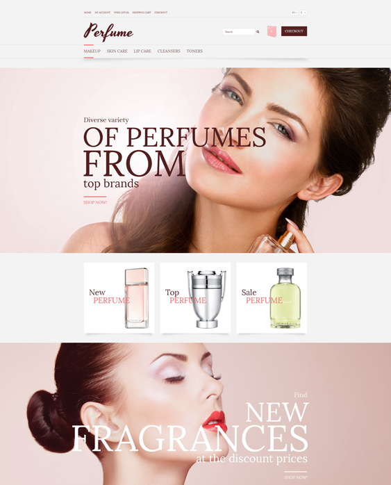 elegant beauty products cosmetics hair care perfumes opencart themes