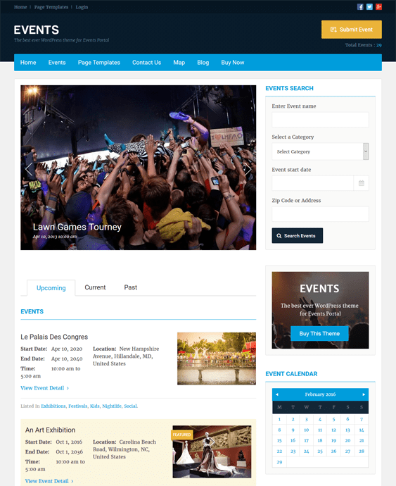 events directory wordpress themes