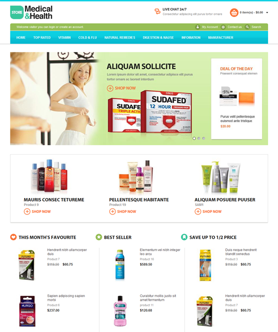 medical health opencart themes