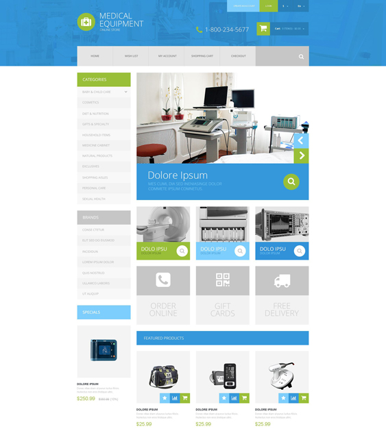 medical health opencart themes equipment