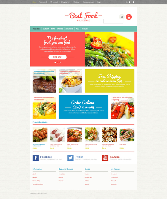 responsive food drink restaurant opencart themes