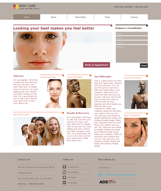 skin clinic medical wix templates