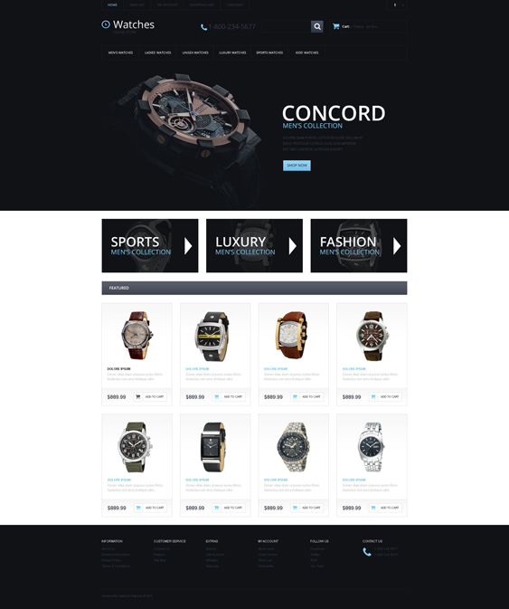 watches jewelry watch opencart themes 3