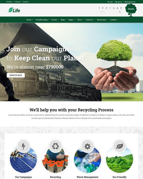 life eco charity nonprofit wordpress themes
