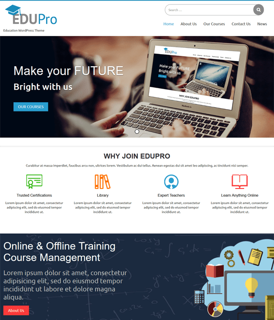 edu pro education wordpress themes