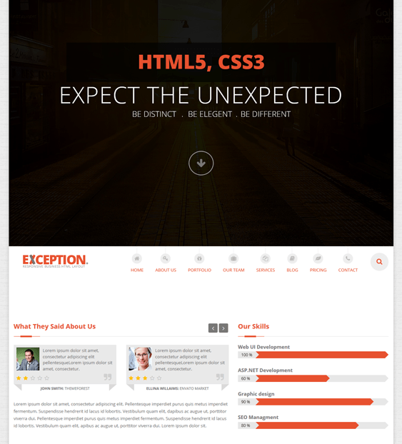 exception one page joomla templates