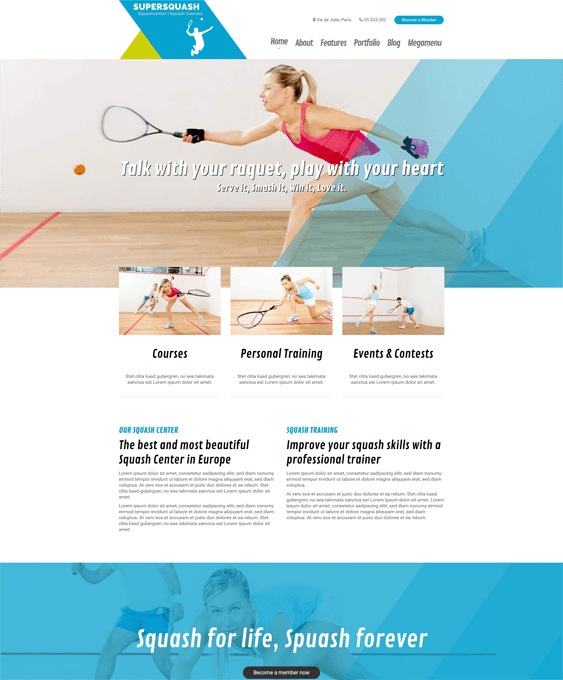 supersquash gym fitness wordpress themes