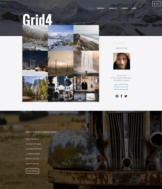 grid4 portfolio joomla templates