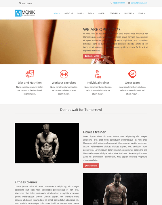 monik fitness gym joomla templates