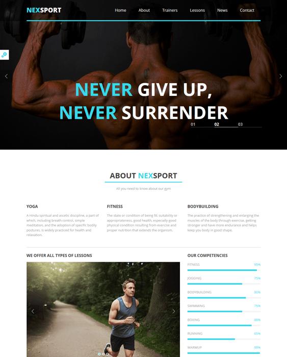 nexsport gym fitness wordpress themes