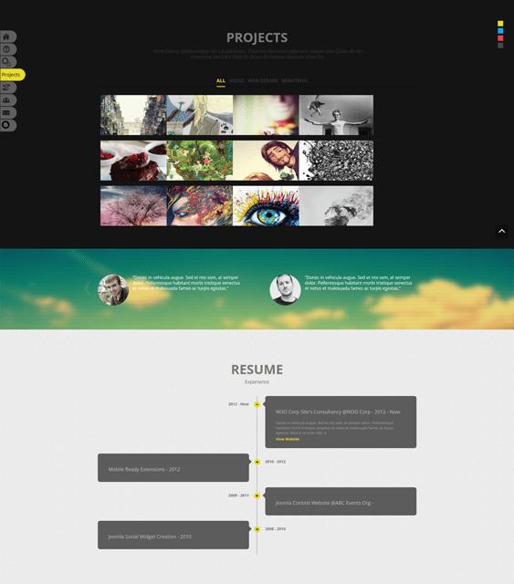 one page portfolio joomla templates