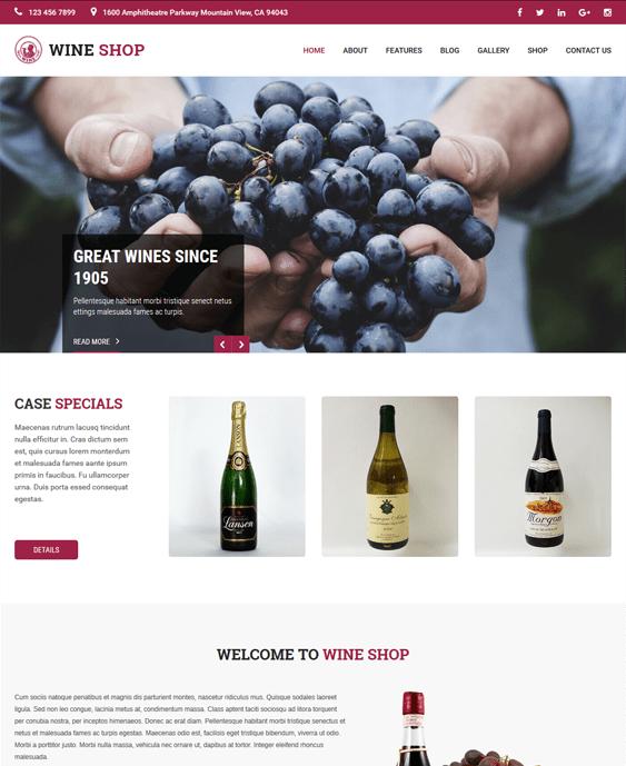 wine pro food drink wordpress themes