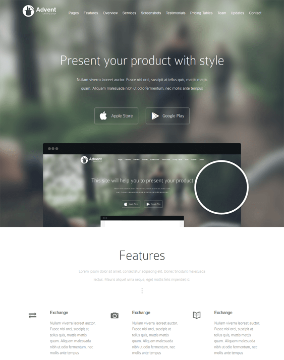 advent landing page wordpress themes