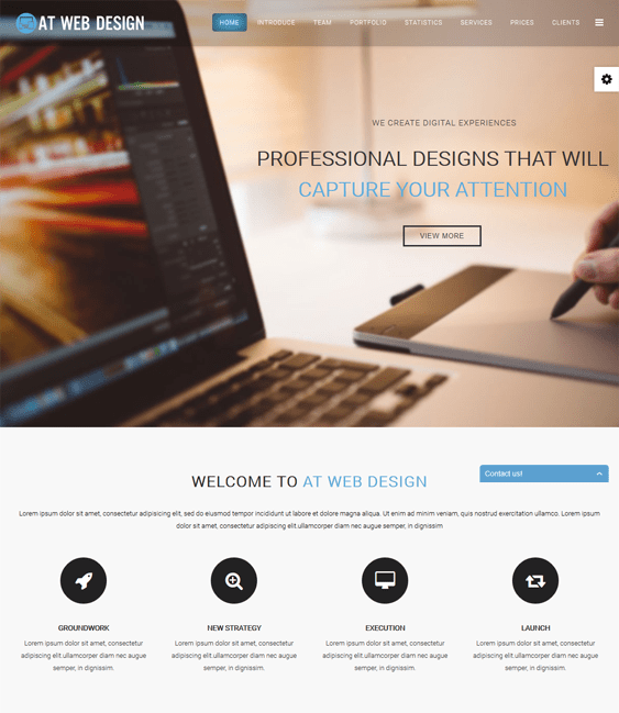 at web design one page joomla templates