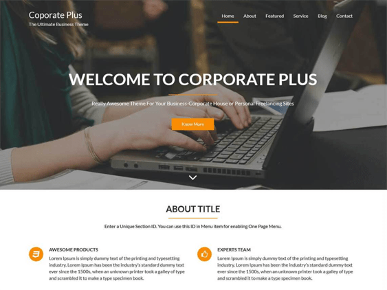 corporate plus free parallax wordpress themes