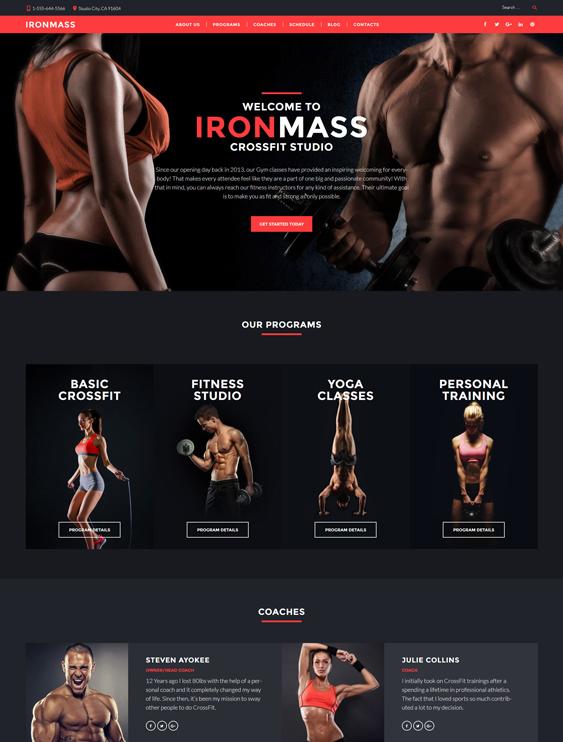 fitness dark wordpress themes