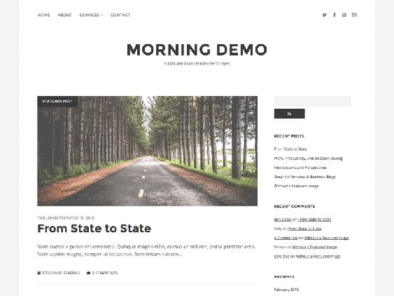 morning free minimal wordpress themes