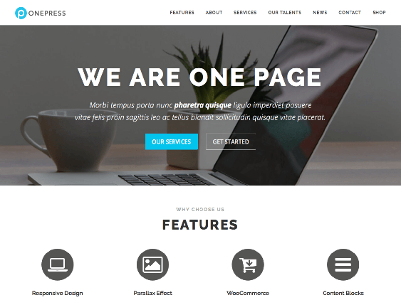 onepress free one page wordpress themes
