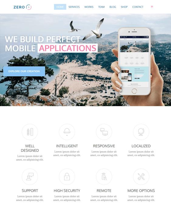 zero wordpress themes promoting apps