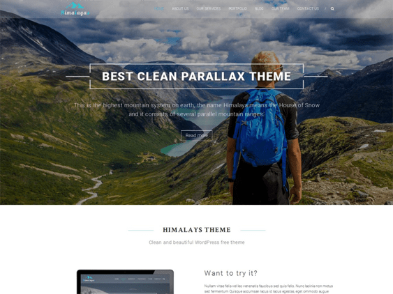 himalayas free parallax wordpress themes