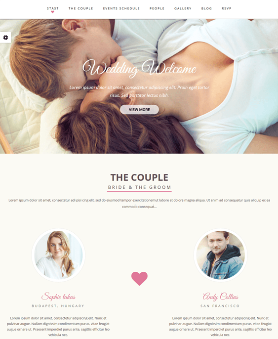 wedding one page wordpress themes