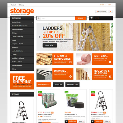 Durable Building Materials PrestaShop Theme (PrestaShop theme for selling tools) Item Picture
