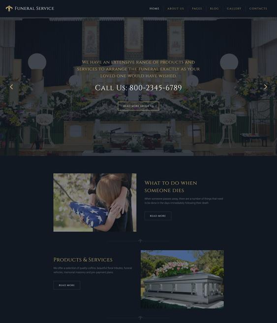 Funeral Services Responsive dark joomla templates