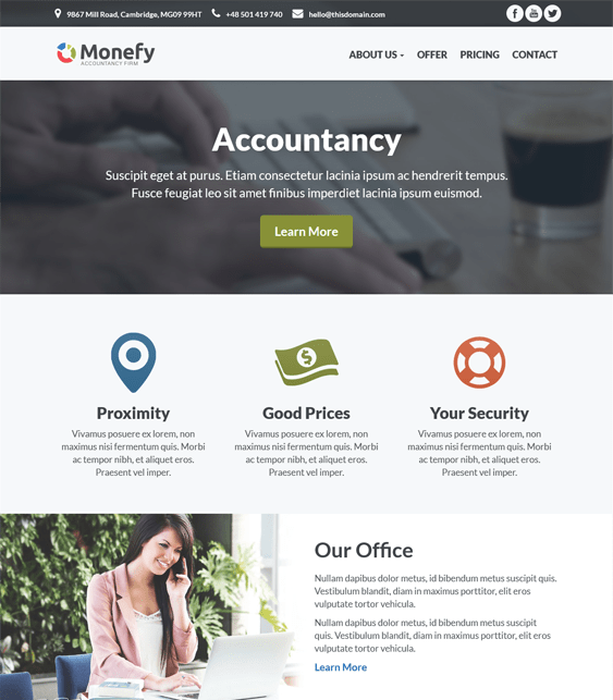 monefy wordpress themes accountants accounting firms