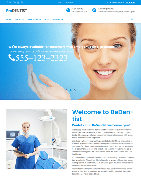 prodentist medical wordpress themes