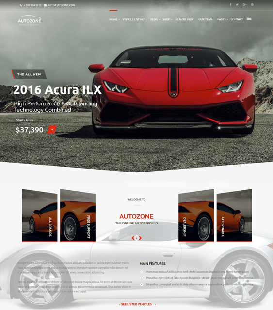 autozone WordPress Theme car vehicle automotive