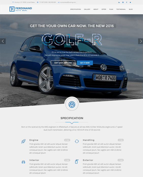 ferdinand WordPress Theme car vehicle automotive
